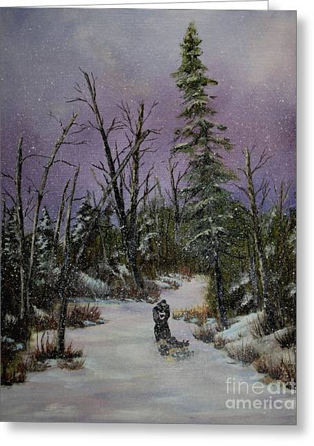 Sled Dogs Greeting Cards - Sled Dogs Greeting Card by Joi Electa