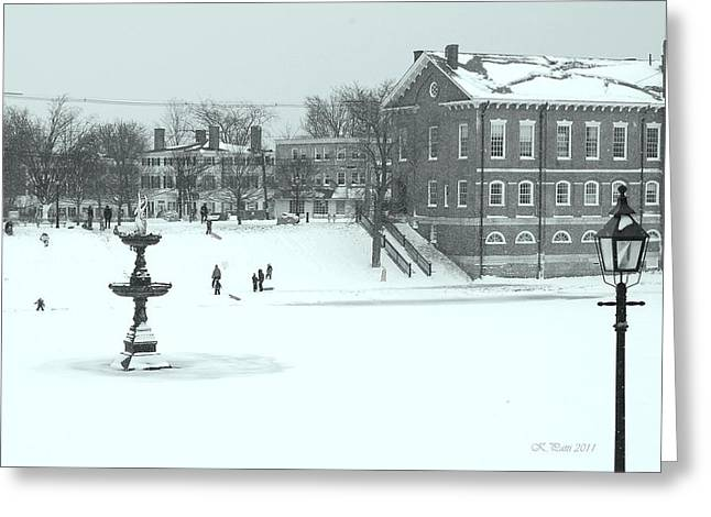 Reminiscent Greeting Cards - Sledding at Bartlet Mall Newburyport Greeting Card by Kristine Patti