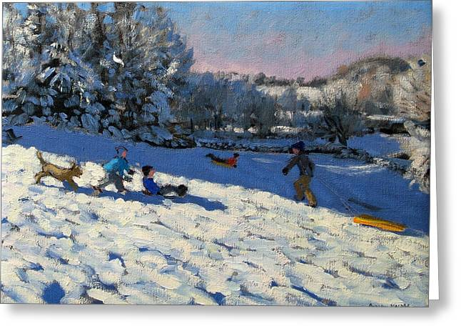Toboggan Greeting Cards - Sledging Near Youlgreave Greeting Card by Andrew Macara