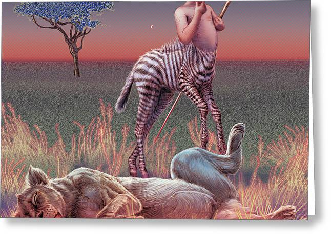 Zebra Colt Greeting Cards - Sleep Greeting Card by David Starr
