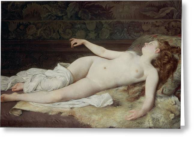 Reverie Paintings Greeting Cards - Sleep Greeting Card by Louis Joseph Raphael Collin