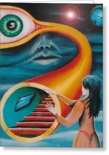 Inner Reality Paintings Greeting Cards - Sleep Paralysis and the Tunnel of the Looking Glass Greeting Card by Jon D Gemma