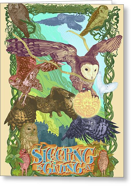 Celtic Art Greeting Cards - Sleepin is Giving in Greeting Card by Nelson Dedos Garcia