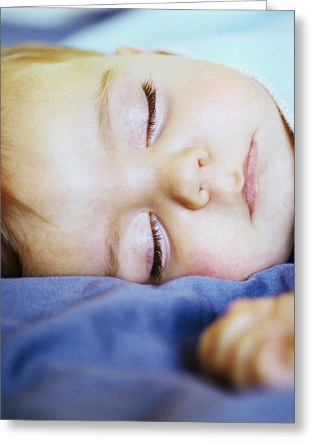 Child Care Greeting Cards - Sleeping Baby Boy Greeting Card by Cristina Pedrazzini