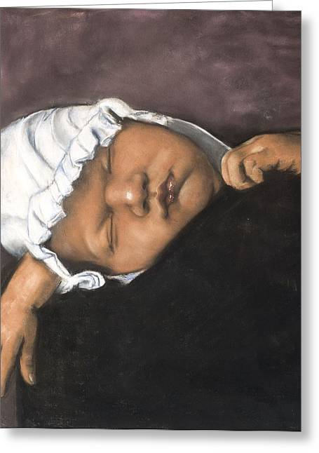 Figure Study Pastels Greeting Cards - Sleeping Baby Greeting Card by L Cooper
