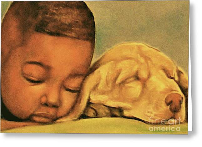 African-americans Pastels Greeting Cards - Sleeping Beauties Greeting Card by Curtis James