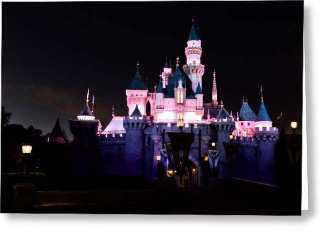 Disney Photographs Greeting Cards - Sleeping Beautys Castle After Dark Greeting Card by Heidi Smith