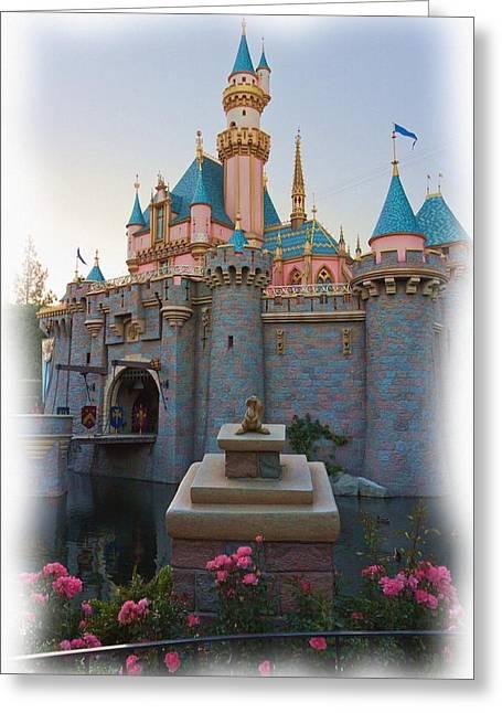 Disney Photographs Greeting Cards - Sleeping Beautys Castle Reflection Lake Disneyland Greeting Card by Heidi Smith