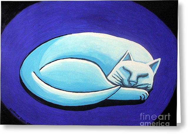 Kitten Prints Greeting Cards - Sleeping Cat Greeting Card by Genevieve Esson