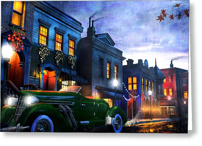 Old Town Mixed Media Greeting Cards - Sleeping City Greeting Card by Joel Payne