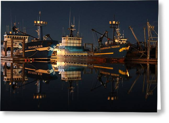 Deadliest Catch Greeting Cards - Sleeping Crabber Greeting Card by Sam Amato