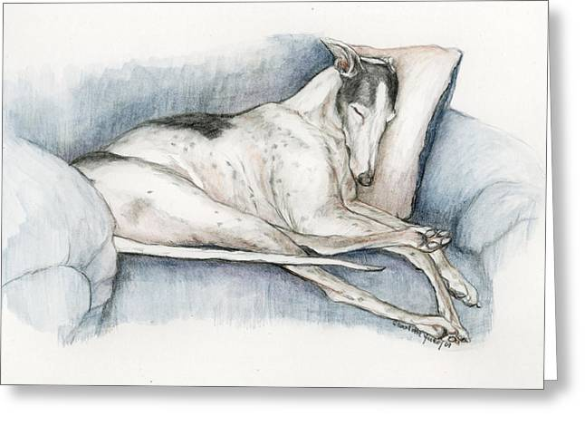 Rescued Greyhound Greeting Cards - Sleeping Greyhound Greeting Card by Charlotte Yealey