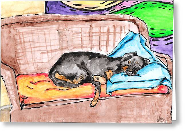 Blue Green Water Drawings Greeting Cards - Sleeping Rottweiler Dog Greeting Card by Jera Sky