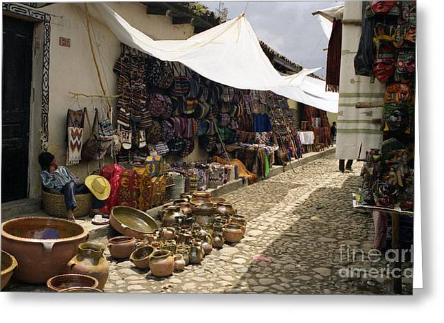 Mayan Pottery Greeting Cards - Sleeping Vendor Greeting Card by Nettie Pena