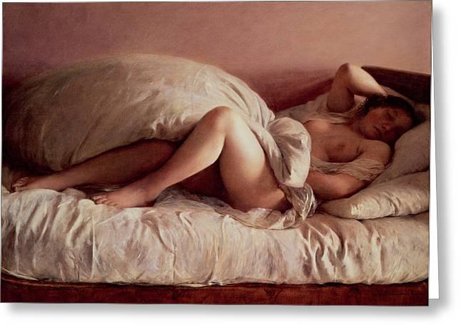 Sleeping woman Greeting Card by Johann Baptist Reiter