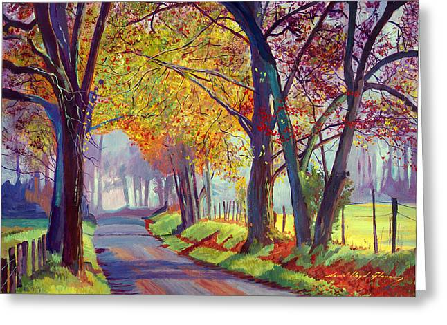Autumn Landscape Paintings Greeting Cards - Sleepy Hollow Mist Greeting Card by David Lloyd Glover