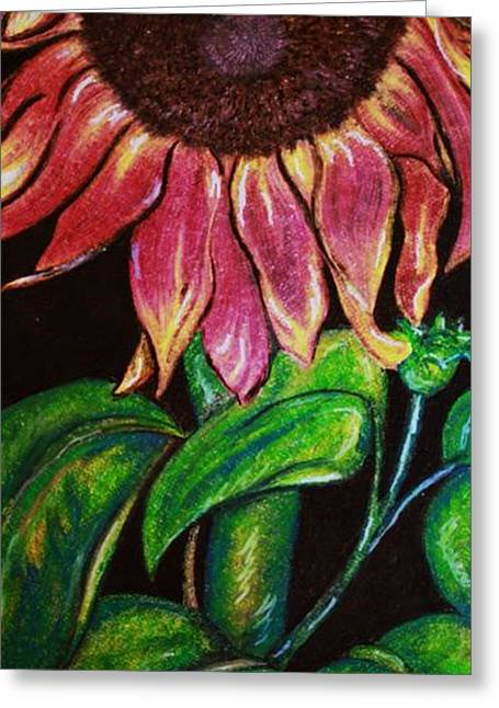 Petals Pastels Greeting Cards - Sleepy Sunflower Greeting Card by Sandi Dawn McWilliams