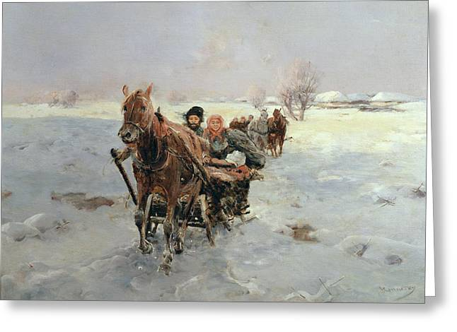 1849 Greeting Cards - Sleighs in a Winter Landscape Greeting Card by Janina Konarsky