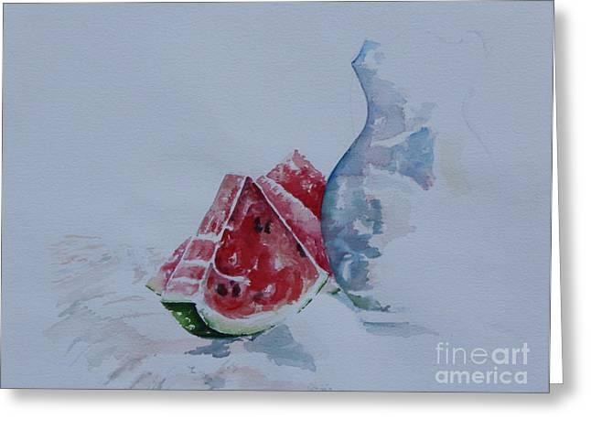 Watermelon Greeting Cards - Slice of Watermelon Greeting Card by Peg Ott Mcguckin