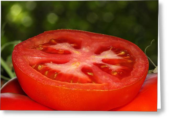 Cut In Half Greeting Cards - Sliced Tomato In The Garden Greeting Card by Tracie Kaska