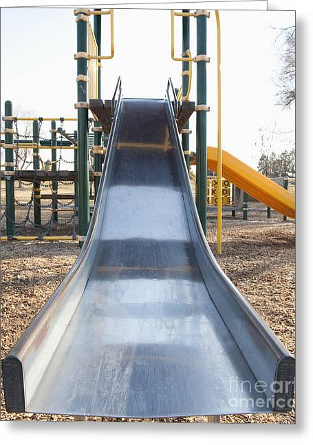 Clear Fall Day Greeting Cards - Slide and Playground Equipment Greeting Card by Thom Gourley/Flatbread Images, LLC