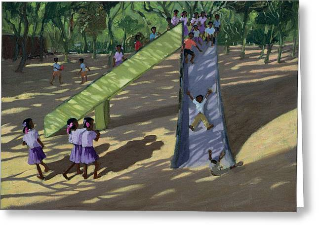 Slide Mysore Greeting Card by Andrew Macara