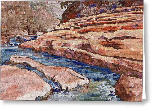 Ledge Greeting Cards - Slide Rock Greeting Card by Sandy Tracey