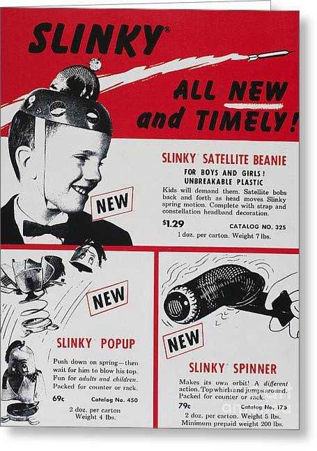 Fad Greeting Cards - Slinky Advertisement, 1958 Greeting Card by Granger