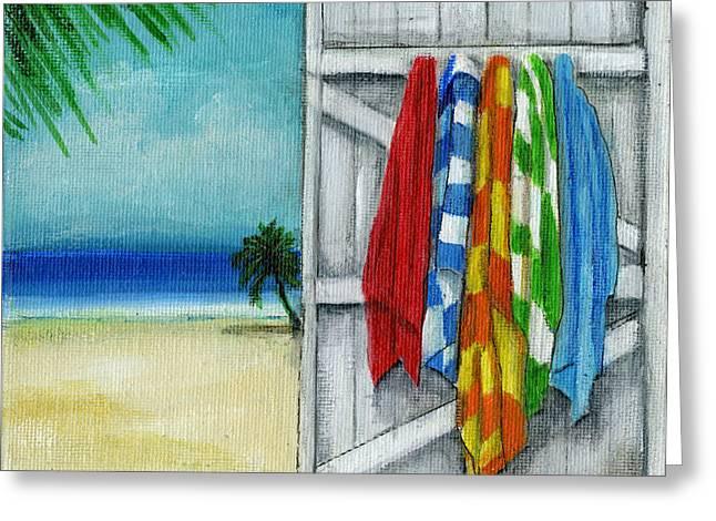 Beach Towel Paintings Greeting Cards - Slip on your suit Greeting Card by Debbie Brown