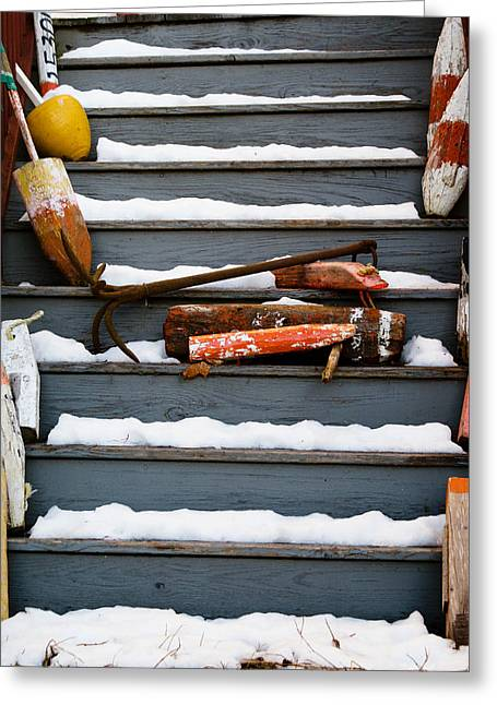 Winter In Maine Greeting Cards - Slippery Steps Greeting Card by Timothy Donahue