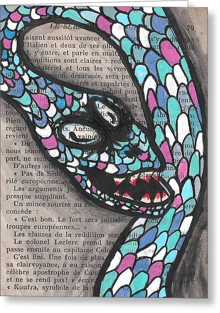Macbre Greeting Cards - Slithering Snake Greeting Card by Jera Sky