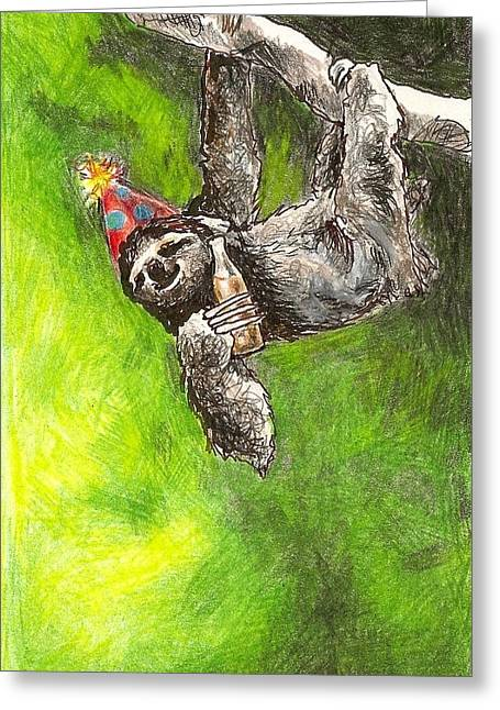 Steve Asbell Greeting Cards - Sloth Birthday Party Greeting Card by Steve Asbell