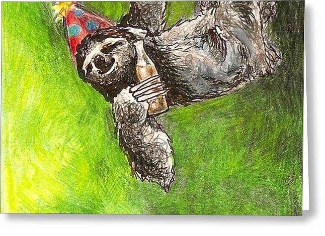 Sloth Birthday Party Greeting Card by Steve Asbell