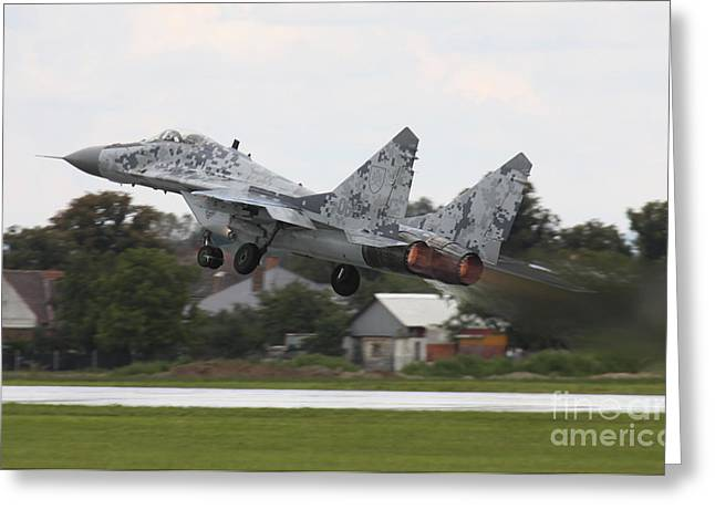 Hradec Greeting Cards - Slovak Air Force Mig-29 Fulcrum Taking Greeting Card by Timm Ziegenthaler
