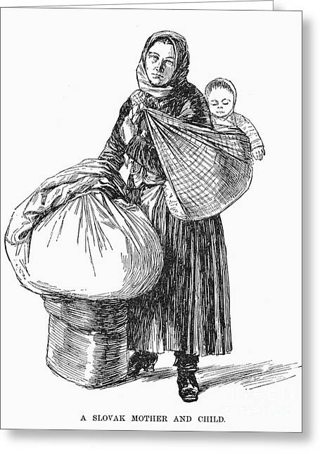 Kerchief Greeting Cards - Slovak Immigrant, 1892 Greeting Card by Granger