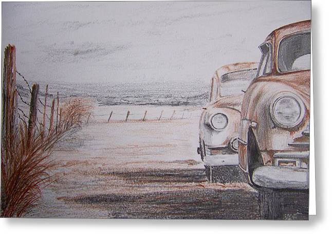 Old Fence Posts Drawings Greeting Cards - Slow Demise Greeting Card by Terence John Cleary