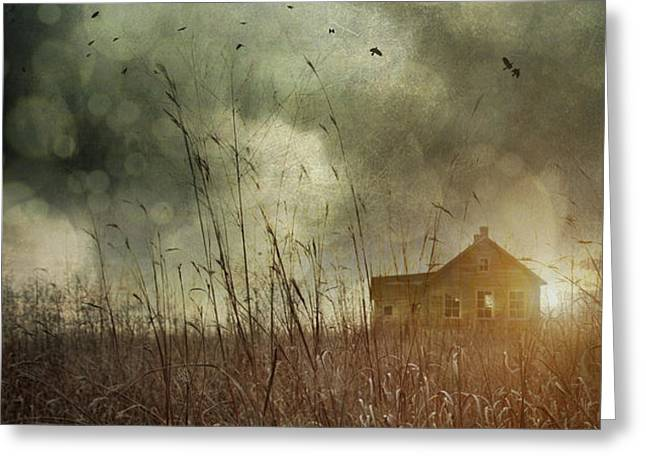 Small abandoned farm house with storm clouds in field Greeting Card by Sandra Cunningham