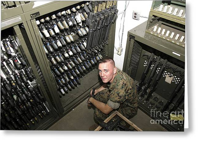Armory Greeting Cards - Small Arms Repair Technician Conducts Greeting Card by Stocktrek Images