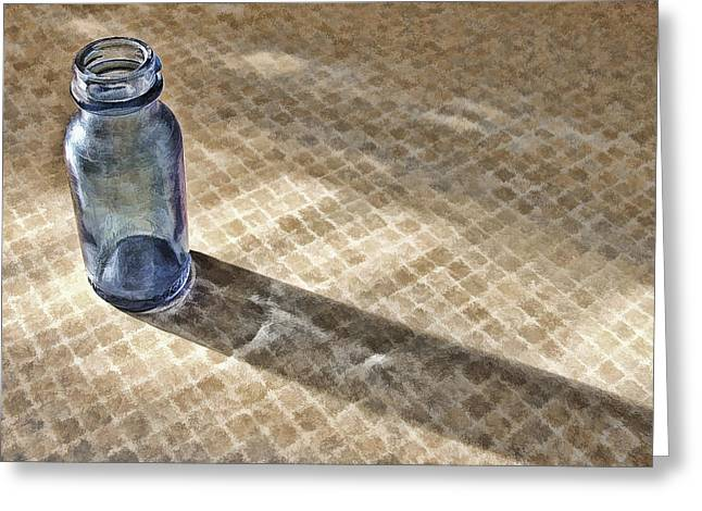 Shadowplay Greeting Cards - Small Blue Bottle Greeting Card by Bonnie Bruno