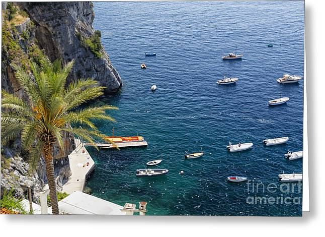 Southern Italy Greeting Cards - Small Boats and a Palm Tree Greeting Card by George Oze