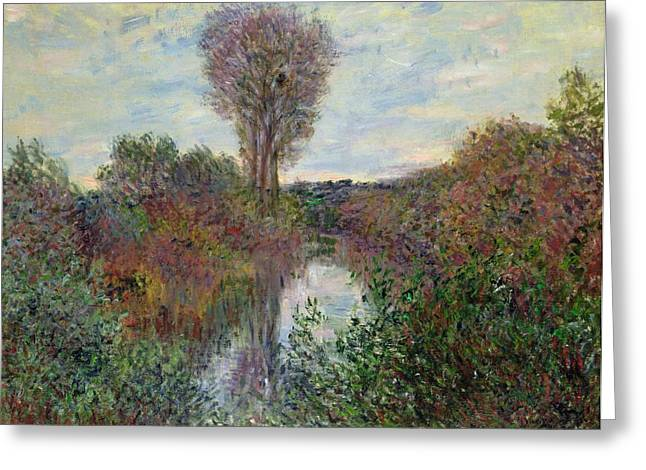 Small Trees Greeting Cards - Small Branch of the Seine Greeting Card by Claude Monet
