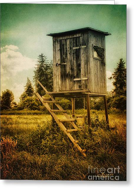 Field. Cloud Digital Art Greeting Cards - Small Cabin with Legs Greeting Card by Jutta Maria Pusl