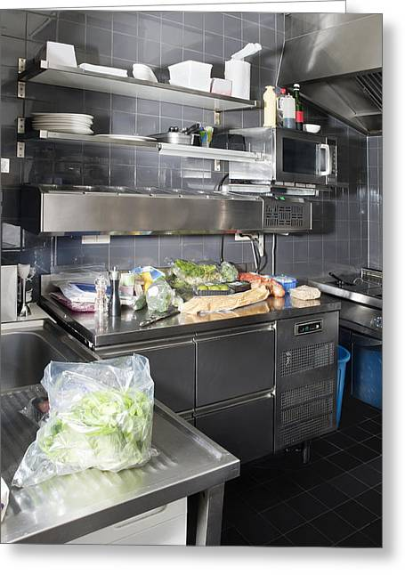Stainless Steel Greeting Cards - Small Commercial Kitchen Greeting Card by Corepics