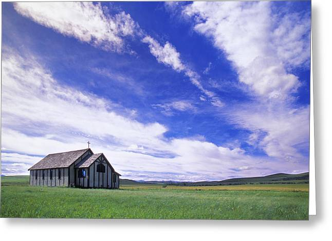 Value Greeting Cards - Small Country Church In Grass Field Greeting Card by Darren Greenwood