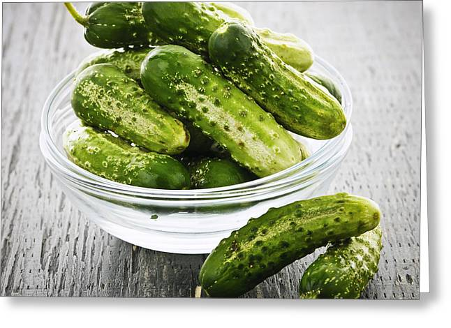 Small cucumbers in bowl Greeting Card by Elena Elisseeva