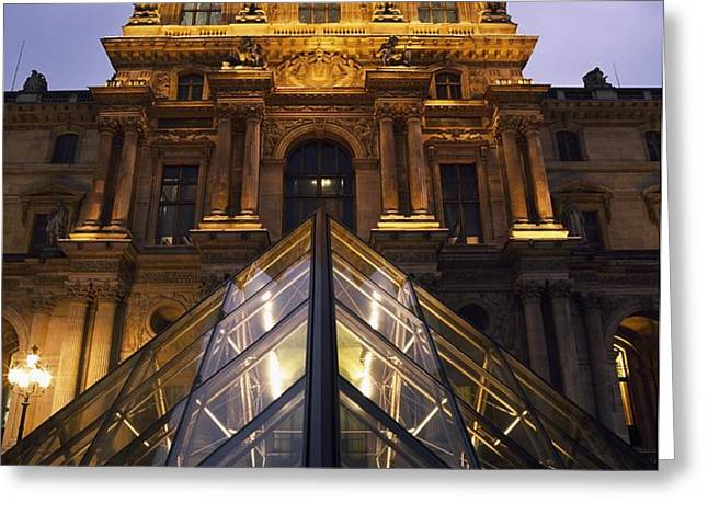 Small Glass Pyramid Outside The Louvre Greeting Card by Axiom Photographic