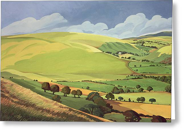 Blue Field Greeting Cards - Small Green Valley Greeting Card by Anna Teasdale