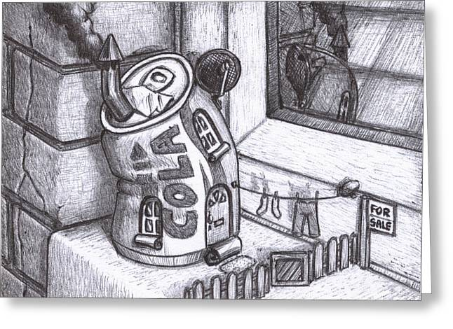 Ledge Drawings Greeting Cards - Small House For Sale Greeting Card by Hermit