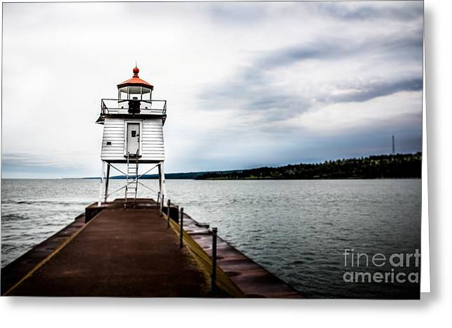 Minnesota Fishing Greeting Cards - Small Lighthouse Greeting Card by Perry Webster