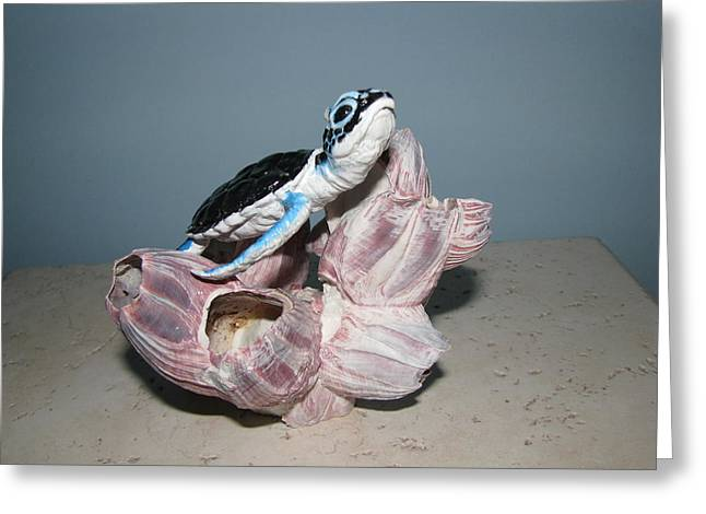 Turtle Sculptures Greeting Cards - Small Miracle Greeting Card by Elzubair Elzein